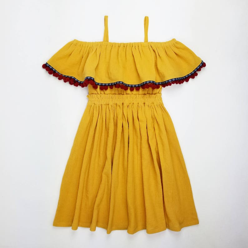 509281702195 Girl s 2T-14Yrs Boho Mustard Yellow Off The Shoulder