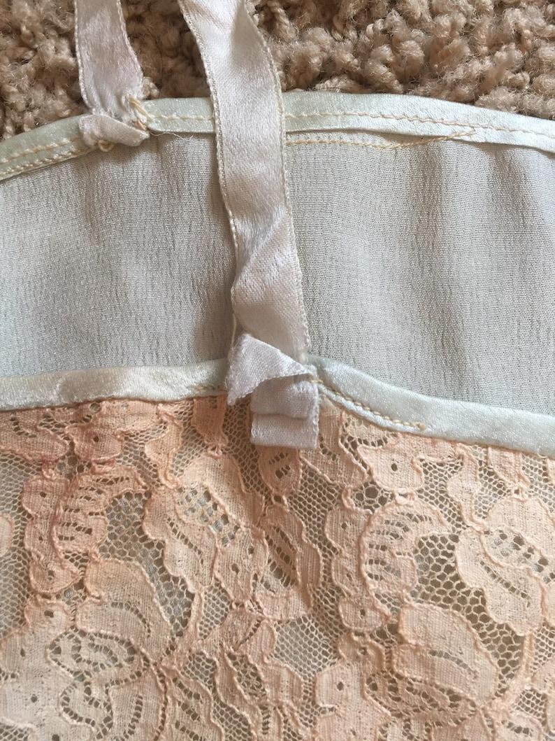 Vintage 1920s mint green lingerie  slip  lace  Flapper Era  Art Deco Era