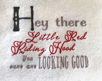 Hey There Little Red Riding Hood Embroidery File, 5x7, Instant Download
