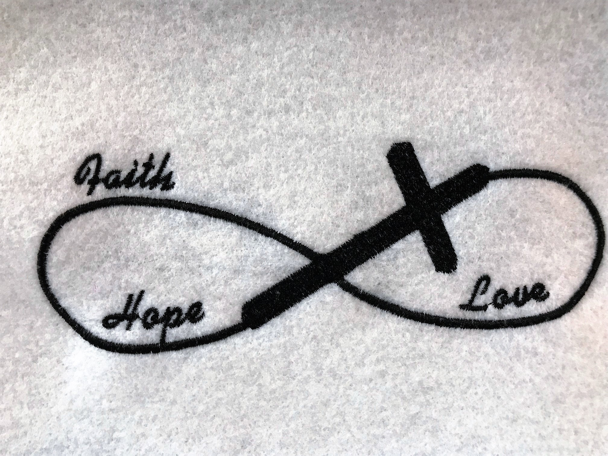 Faith Hope Love Infinity Symbol Embroidery File 5x7 Instant Etsy