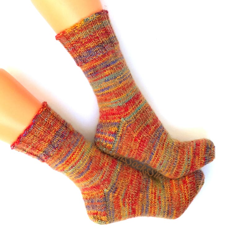 Red Yellow Blue Hand Knitted Socks Very Warm Socks From Sock Etsy