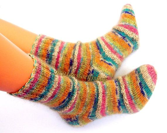 Blue Black White Hand Knitted Socks Mohair Socks Warm Sleeping Socks from Sock Yarn with Kid Mohair Winter Socks Women/'s Socks Girl/'s Socks