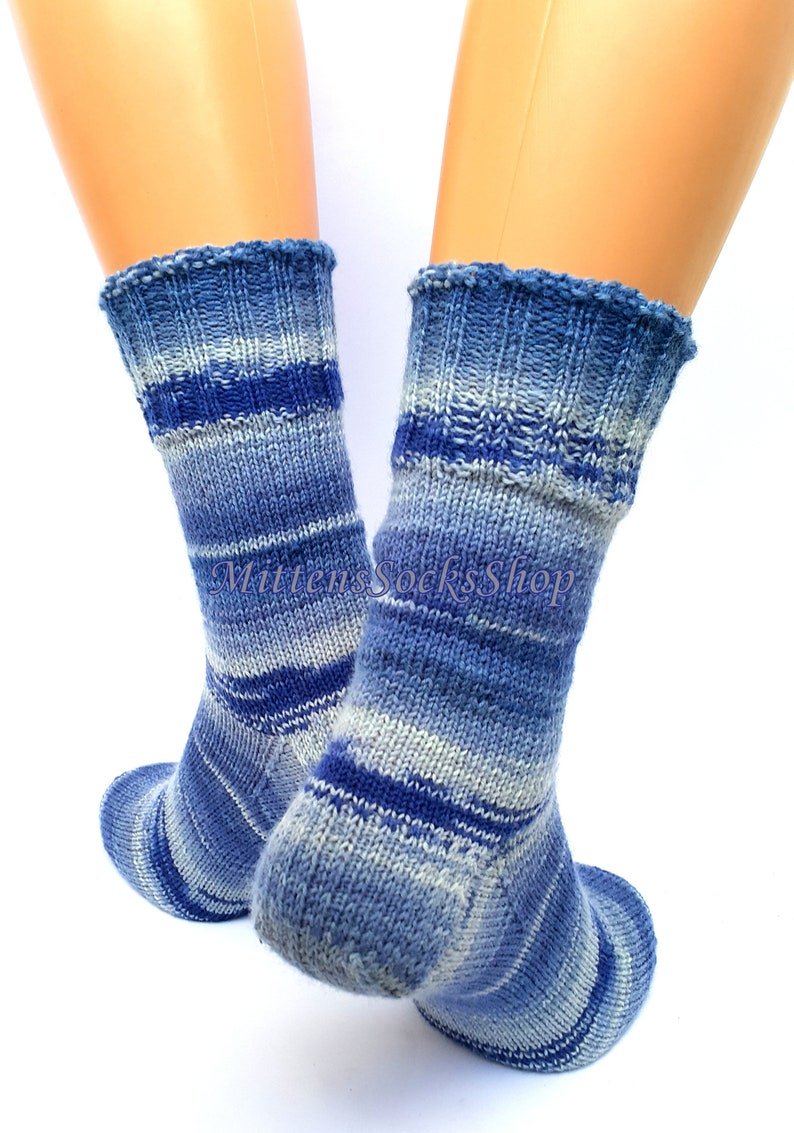 Hand Knit Socks Stylish Denim Blue Women/'s Socks Blue Men/'s Socks Warm Socks Winter Socks Striped Girl/'s Socks Gifts for Her Gifts for Him