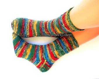 Green Blue Red Yellow Hand Knitted Socks Green Red Women's Socks Colorful Girl's Socks Men's Socks Winter Socks Warm Socks Gift idea 2018