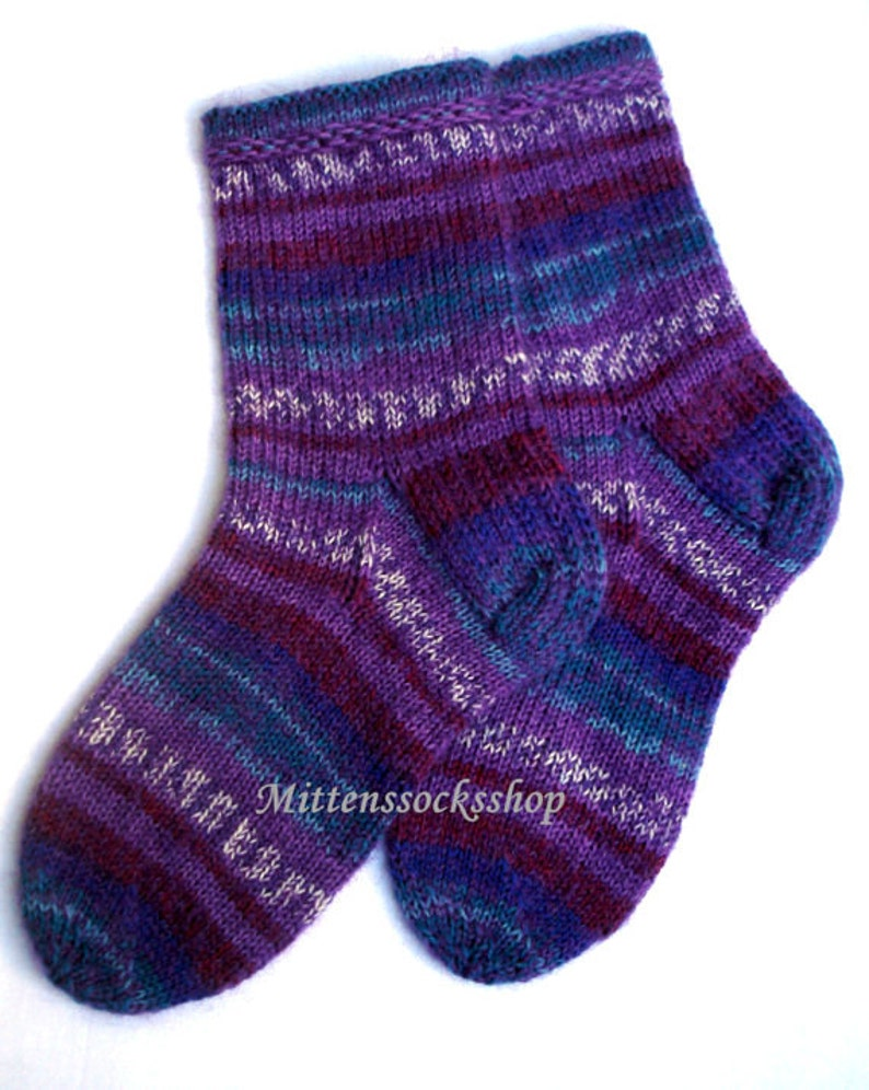 Purple Blue White Socks Hand Knit Socks Very Warm Socks from  4d48696919