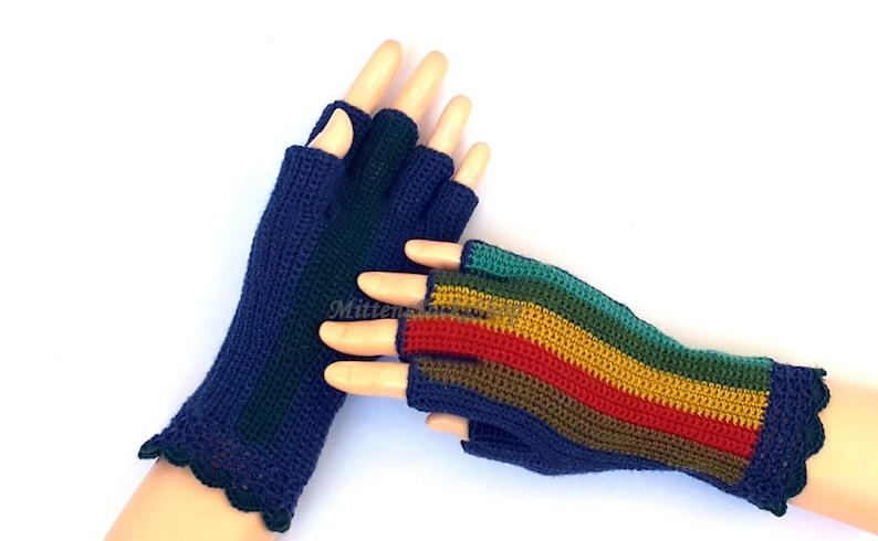 Rainbow Half Finger Gloves Women/'s Half Finger Gloves Crochet Half Finger Gloves Wrist Warmers Hand Warmers Arm Warmers Fingerless Gloves