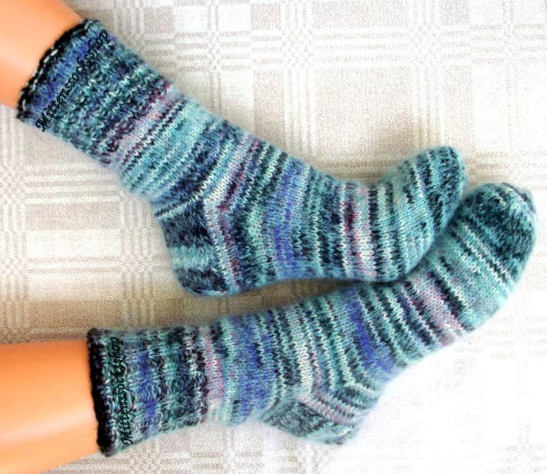 Blue Black White Hand Knitted Socks Mohair Socks Warm Sleeping Etsy