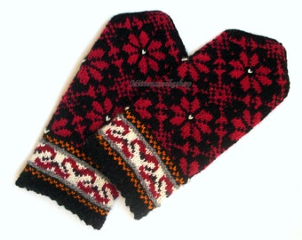 Hand Knitted Red Black White Mittens Hand Knitted Red Black White Gloves Wool Mittens Wool Gloves Red Black Winter Mittens Patterned Mittens