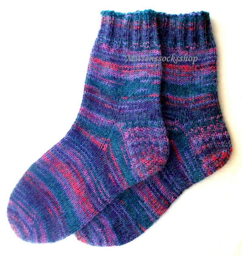 Blue Purple Hand Knitted Socks Blue Purple Mohair Socks Very Etsy