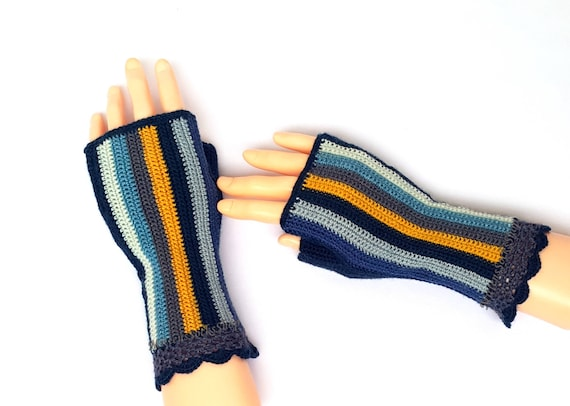 Fingerless Gloves Blue Gray Yellow Striped Crochet Fingerless Gloves Hand Knit Mittens Hand Warmers Wrist Warmers Arm Warmers Driving Gloves