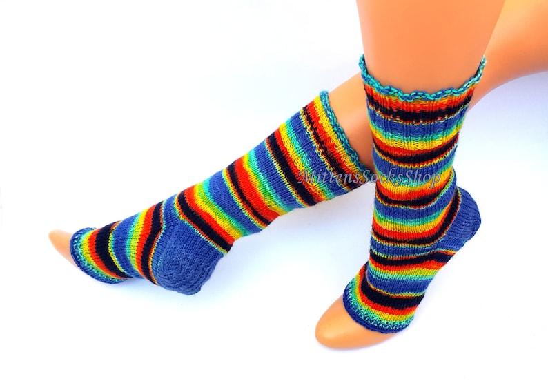 21113abdee306 Knit Rainbow Yoga Socks with Heel Women s Yoga Socks Gifts for Her Dance  Socks Girl s Summer Socks Pilates Socks Pedicure ...