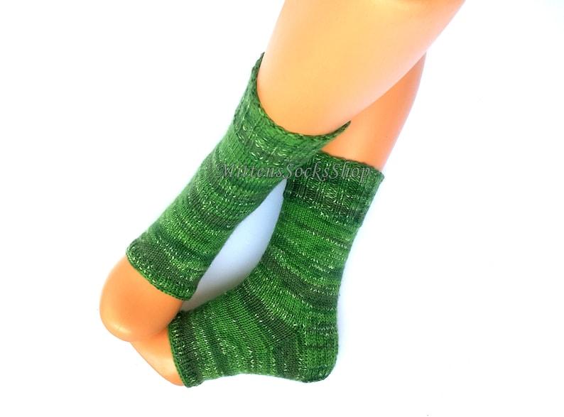 1e59c47f1981b Hand Knitted Yoga Socks with Heel Green Yoga Socks Leg Warmers