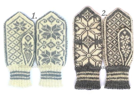 Blanc gris tricotés en mitaines nordique laine mitaines gants   Etsy 9debdb20d2a