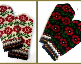 Hand Knitted Red Green White Black Wool Mittens Hand Knitted Red White Black Wool Gloves Winter Gloves Patterned Latvian Mittens Wool Gloves