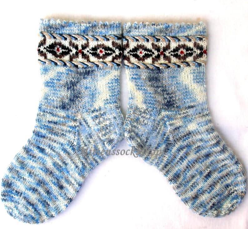 Blue White Gray Hand Knitted Socks Warm Socks From Sock Yarn Etsy