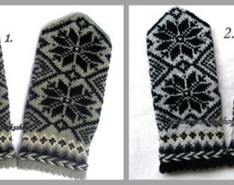 Gray Black Wool Mittens Gray Black Wool Gloves Hand Knitted Wool Mittens Hand Knitted Wool Gloves Warm Mittens Latvian Mittens with Pattern