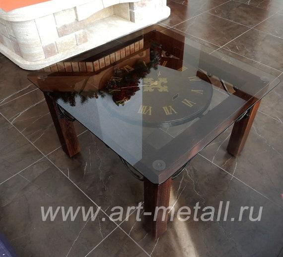 Wrought Iron Coffee Table Iron Clock Table On Wheels Oak Etsy