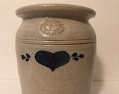 Vintage Pinewood Valley Pottery, Blue Heart 1 Gallon Salt Glazed High Crock, Cambridge Wisconsin, Housewares Decor, Collectibles, Pickling