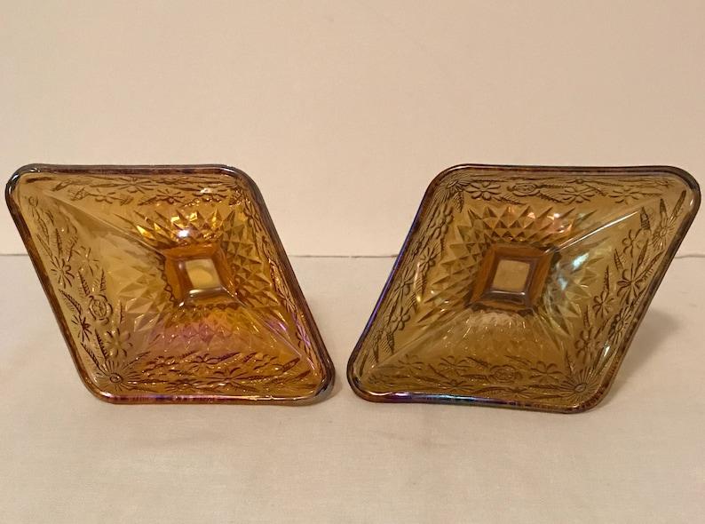 Vintage,Collectible,Decor,Housewares, 2 Indiana Diamond Shape Amber Iridescent Floral Motif Glass Pedestal DishCompote Free Ship