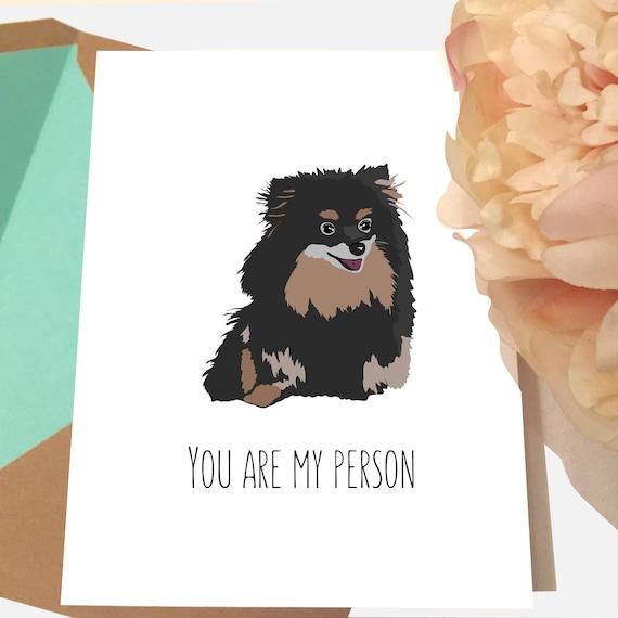 Pomeranian Birthday Card Black Pomeranian Dog Valentines Etsy