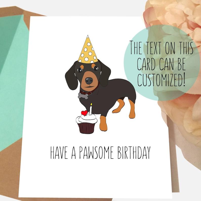 Dog Birthday Cards Dachshund Card Wiener Pawsome