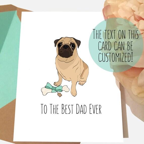 Pug Card Dog Dad Birthday Best Ever
