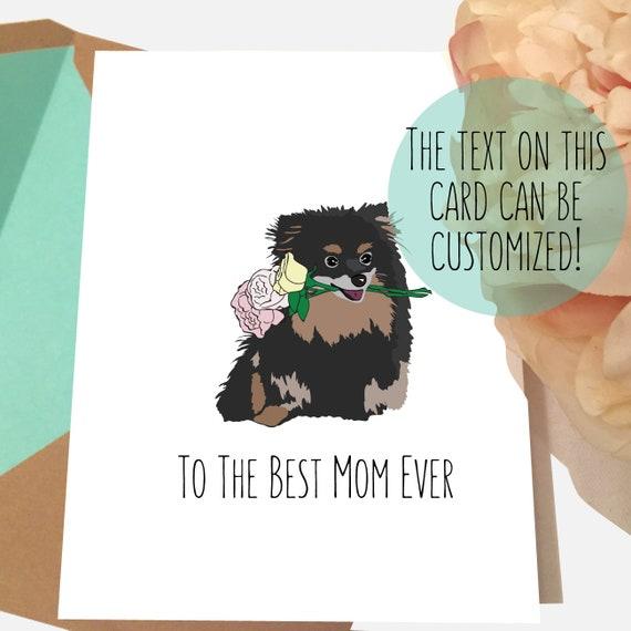 Pomeranian Card Dog Mom Birthday BLACK