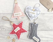 Personalised Christmas Decoration, Christmas Ornaments, Tree Decoration, Festive Home Decor, Nordic Christmas, Tree, Star, Heart, Stocking