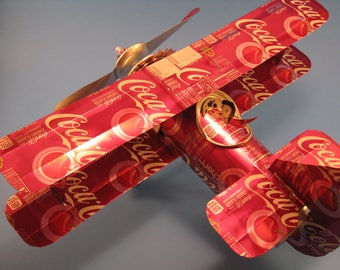 Coca Cola Cherry Soda Can Airplane - Handcrafted-Wind Spinner-sun catcher-air plane