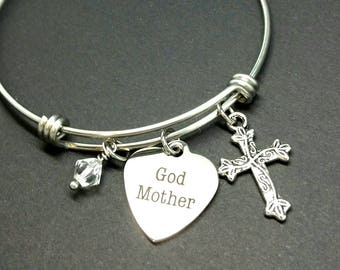 Gift for God Mother - God Mother - Baptism jewelry - bangle bracelet  - charm bracelet  - religious jewelry  - gift for her - baptism