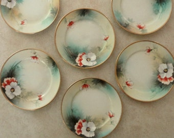 Set 6 Nippon Dessert Plates Vintage Holiday Table Hand-Painted Poppy Japanese Porcelain 6 Dessert Plates Downton Abbey Tea Party Fancy Plate