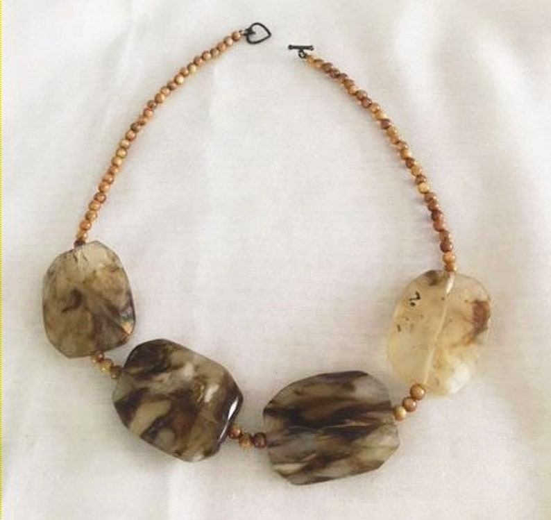 Chunky Stone Necklace Large Brown Resin Stones Real Jasper Agate Beads Hippie BoHo 18-Long Necklace Statement Stone Bead Necklace Choker