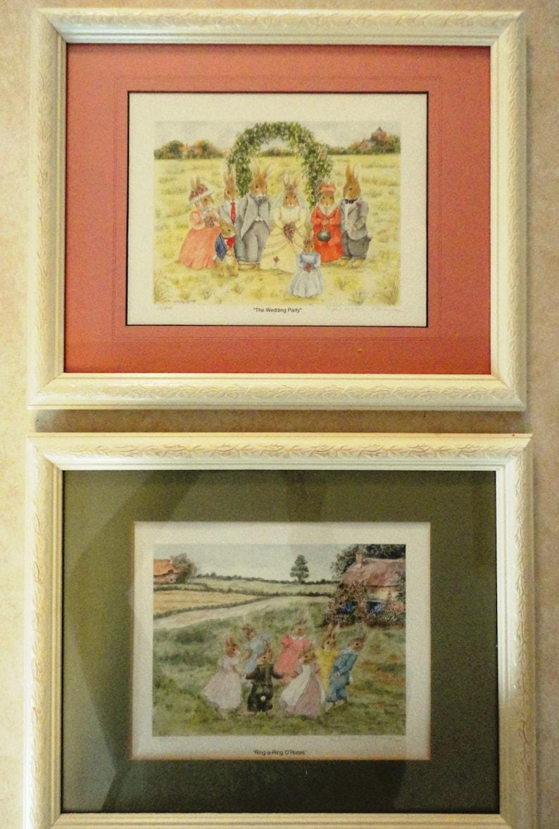Original Art Bunny Prints Pair Custom Framed Signed by Artist Doreen Coley 1995 Early Print Editions Nursery Wall Art Child Baby Room Decor