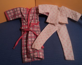 Vintage Barbie Doll Clone Clothes Flanel Robe with Pink Polka Dot Pajamas