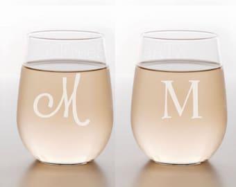 Etched Wine Glasses/Monogram Wine Glasses/Etched Wine Glass/Custom Wine Glass/Wine Glass/Wedding Gift/Custom Wine Class/Personalized Wine