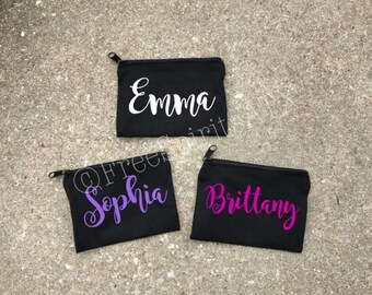 Personalized Zipper Pouch/Makeup Bag/Zipper Make Up Bag/Rose Gold Makeup Bag/Personalized Gift/Bridesmaid Gift/Zipper Coin Purse/Zipper Bags