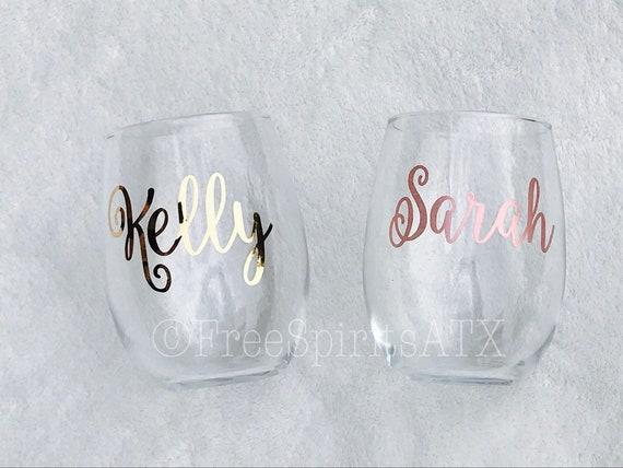 Personalized Stemless Wine Glassespersonalized Glassrose Etsy