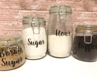 Kitchen Canister Labels/Kitchen Canister Decals/Pantry Organization Labels/Kitchen Canisters/Pantry Decals/Flour Sugar Coffee Decals/Jars