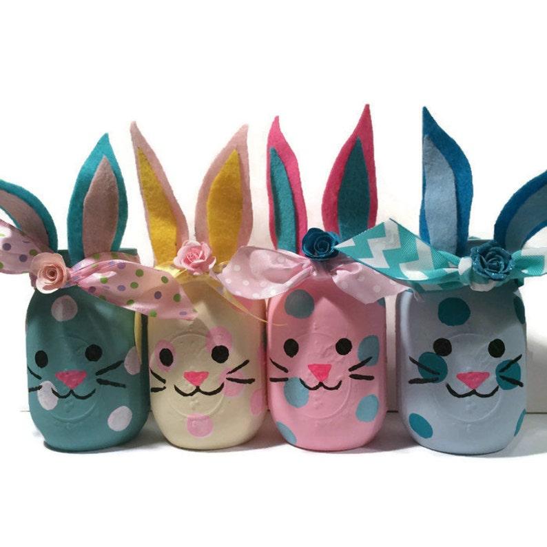 Bunny mason jars bunny jars bunny home decor bunny nursery image 0