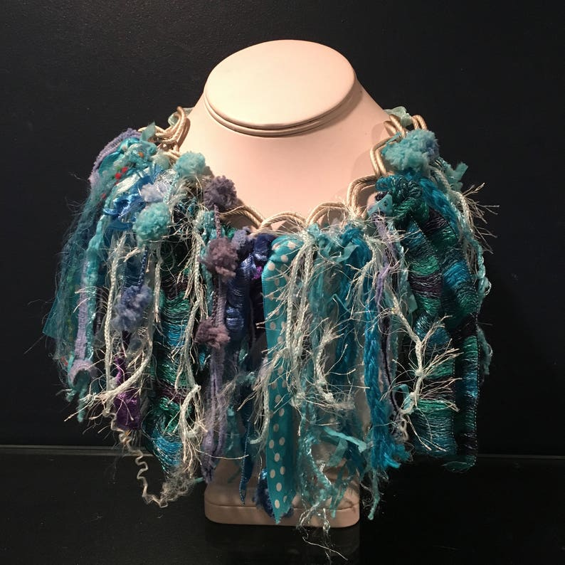 yarn choker gift for her fringe necklace necklace ribbon necklace Christmas gift funky turquoise /& aqua ribbon and yarn bib necklace