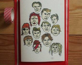 David Bowie Card - ziggy stardust card - Aladdin Sane card - Glam Rock Card - Labyrinth film card -