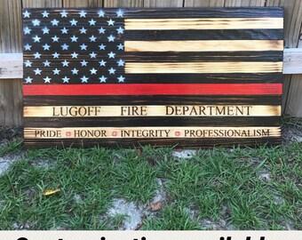 Firefighter, wooden red line flag, firefighter memorial flag, firefighter flag, firefighter gift, red line flag, thin red line flag