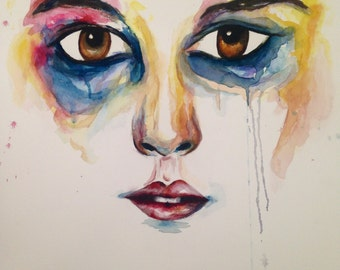 Dyed Face, Original Watercolor Painting