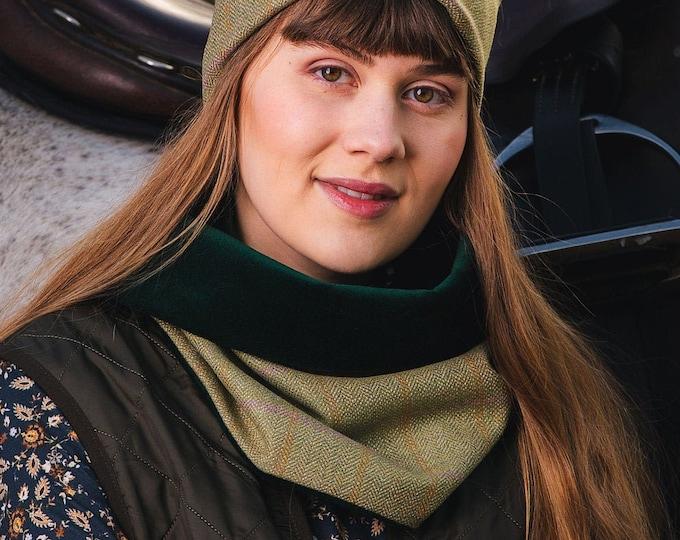 Pale Beige Lovat Tweed Cowl Velvet Lining