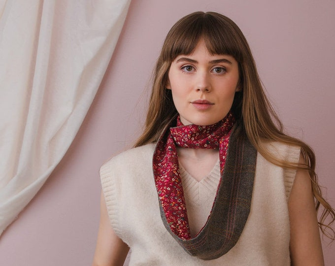 Grey Check Lovat Tweed Infinity Scarf with Liberty Lining - Donna Leigh