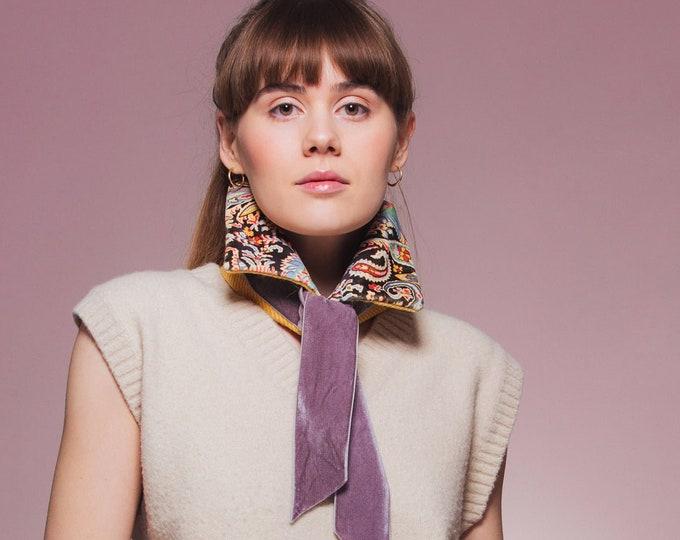 Yellow Twill Harris Tweed Collar with Liberty Print Velvet Lining - Felix Raison
