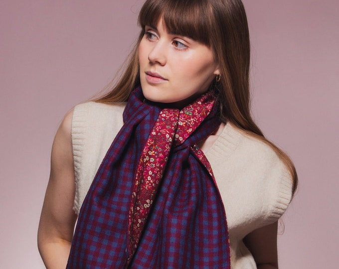 Red/Blue Check Tweed Scarf with Liberty Print Lining - Donna Leigh