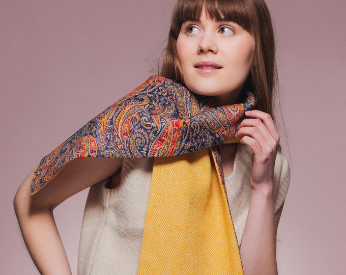 Yellow Harris Tweed Scarf with Liberty Print Lining - Felix & Isabelle