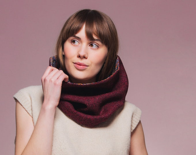 Red/Black Twill Harris Tweed Cowl with Liberty Print Lining - Felix & Isabelle