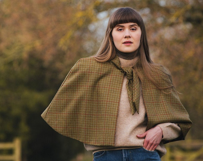 Classic Check Lovat Tweed Tie Neck Cape with Liberty Print Lining